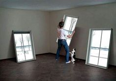 These are the coolest fake windows - you can choose your moving image to go in them! It would be cool to put them in a basement to have the imitation of windows. Basement Windows, Basement Bedrooms, Basement Apartment Decor, Basement House, Basement Walls, Faux Window, Window Wall, Fake Window Light, Window Lights