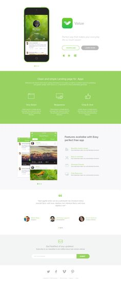This freebie is a landing page template for mobile application. It is very modern and designed with minimal design concept. The landing page can be used to App Landing Page, Landing Page Design, Desktop Design, Mobile App Design, Mobile Ui, Web Layout, User Interface Design, Web Design Inspiration, Psd Templates