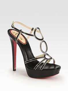 Troisronds Leather and Chain Platform Sandals from Christian Louboutin