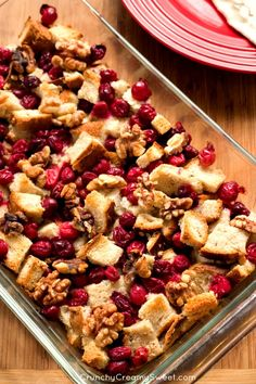 Cranberry Walnut Stuffing - fruit and nut stuffing idea for your Thanksgiving dinner. christmas food ideas for dinner Cranberry Recipes, Fall Recipes, Holiday Recipes, Cranberry Sauce, Christmas Recipes, Crown Roast Of Pork, Good Food, Yummy Food, Delicious Recipes
