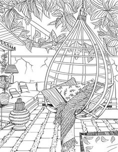 Bohemian Patio Design Adult Coloring Page - Coloring Pages Printable Adult Coloring Pages, Cute Coloring Pages, Coloring Pages To Print, Coloring Sheets, Coloring Books, Colouring Pages For Adults, Coloring Pages For Grown Ups, Fairy Coloring, Kids Coloring