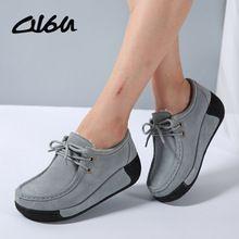 O16U Mujeres Pisos Zapatos de Plataforma Suede Leather Lace up mujeres slipony Mocasines Enredaderas Ocasionales Femeninos Del Verano Zapatos de Las Señoras de Invierno(China)