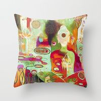 Throw Pillows by Flora Bowley Diy Cushion Covers, Flora Bowley, Decorating Ideas, Craft Ideas, Fabric Painting, Mixed Media Art, Home Accessories, Art For Kids, Journaling