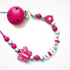 Chaîne de tétine avec Nom Poney Princesse étoile bébé fille rose bois handmade