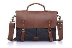 Vintage casual men's portable briefcase canvas postman bag Messenger bag with crazy horse leather 14 Inch Laptop Bag Cross Body Canvas Messenger Bag, Laptop Messenger Bags, Laptop Briefcase, Laptop Bags, Business Briefcase, Canvas Backpack, Leather Briefcase, Leather Crossbody Bag, Satchel Bag