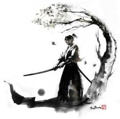 """By JungShan """"Autumn moon"""" Let's go back to samurai series! I made these drawings to one of my tattoo freelance work. My client asked me for a samurai under the maple and holding a sword. I made 3 illustration to her to choose and she chose Autumn moon. Ronin Samurai, Samurai Warrior, Aikido, Tattoo Samurai, Ronin Tattoo, Samourai Tattoo, Familie Symbol, Arte Ninja, Samurai Artwork"""