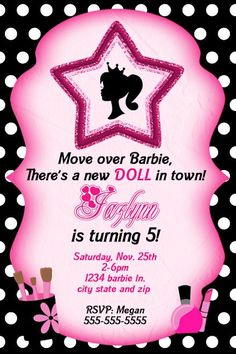 Barbie Birthday Invitation.... Can in have this for my birthday? Lol