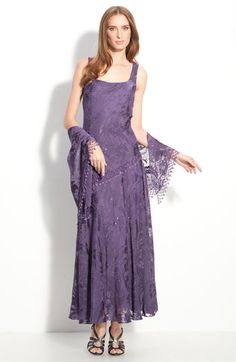 Alex Evenings Sequin Lace Overlaid Dress with Shawl available at Nordstrom