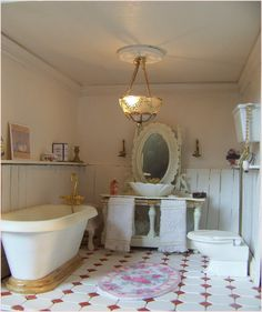 Customized Scale Dollhouse by French artisan Beatrice Thierus Tiny Furniture, Dollhouse Furniture, Dollhouse Interiors, Diy Bathtub, Clawfoot Bathtub, Edwardian Bathroom, Small Bathroom, Bathrooms, Shades Of White
