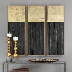 Hand-pieced layers of multi directional pine wood strips create a dramatic textural effect for any wall. The Pierra wall art is finished in a deep charcoal black and metallic gold leaf. Gold Wall Decor, Gold Wall Art, Leaf Wall Art, Diy Wall Art, Diy Art, Wall Art Decor, Black Wall Art, Gold Art, Wall Decorations