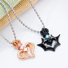 Crown And Heart Pendant Couples Necklaces – shopNspot Evil Eye Necklace, Necklace Set, Matching Necklaces For Couples, Cute Couple Necklaces, Matching Couples, Diamond Cross Necklaces, Heart Necklaces, Blue Sapphire Necklace, Couple Jewelry