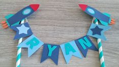 Rocket Ship Cake and Cupcake Decoration Set, Outer Space Party, Rocket Cake…