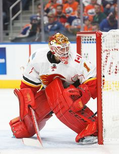 Goalie Brian Elliott of the Calgary Flames skates against the Edmonton Oilers on October 12 2016 at Rogers Place in Edmonton Alberta Canada