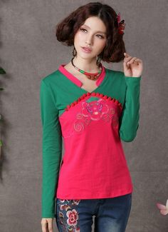 Chinese Style Embroidering Long Sleeve T-Shirt Red-- Click on the picture to order it>>Shop price:US$12.68---#shoes #wholesale #fashion #lovely #cheap #Korean #dress #sexy #clothes#