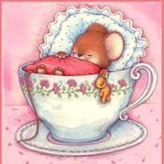 Good night mouse in a teacup illustration