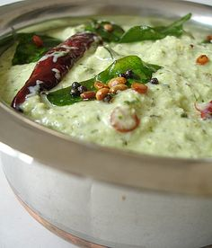 A classic, versatile, refreshingly cool yogurt based chutney is Kothimira perugu pachadi which works great as a dip, a chutney with dosas, a raita with flavored rice or a simple pachadi with rice. Veg Recipes, Vegetarian Recipes, Cooking Recipes, Cooking Blogs, Cooking Classes, Dishes Recipes, Vegetarian Cooking, Recipies, Italian Cooking