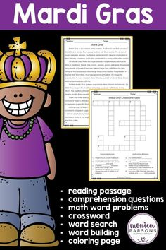 Teach your students about the tradition of Mardi Gras! Your purchase includes:a reading passagereading comprehension questionsa word searcha crossword puzzlea word-builder pagecards to use with the word-builder page4 math word problemsa coloring pageanswer keysPlease see the PREVIEW to see all that ...