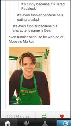 Jared when he played Dean on Gilmore   Girls... It so weird to me that I love his as both character and it took forever   to get use to thinking of him as Sam and I laughed so hard during that one   episode where they were tour the studio and they were on the set of Gilmore   girls