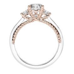 Contemporary two tone, three stone diamond engagement ring with rose gold rope detail, Marlow style 31-V591ERR, #ArtCarvedBridal