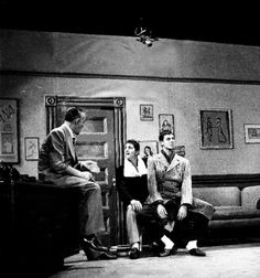 """Dean Martin and Jerry Lewis during dress rehearsal for the """"The Dummy"""" sketch for The Colgate Comedy Hour, November, 1951."""