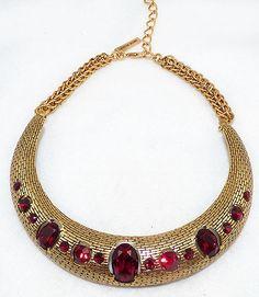 676c036a5 Oscar de La Renta Red Crystal Collar Necklace - Garden Party Collection  Vintage Jewelry