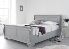 The Louie Grey Wooden Sleigh Bed is the perfect addition to any bedroom. A new and exciting product to our collection, this bed frame is sure to make you the envy of your friends and family. Beautifully crafted the Louie has been styled to bring a moo Grey Bed Frame, Wooden Bedroom Furniture, Wooden Bed Design, Bed Design, Wooden Sleigh Bed, Bed Makeover, Wooden Sleigh, Bed Furniture, Grey Bedding