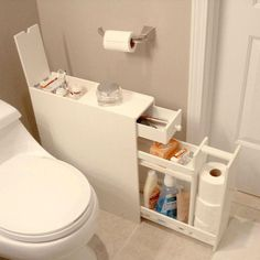 Space Saving Bathroom Floor Cabinet in White Wood Finish-Bathroom > Bathroom Cabinets-Loluxe #bathroomcabinets