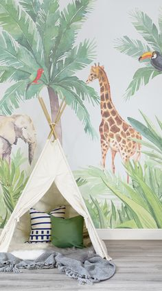 Introduce an engaging art piece into your child's nursery with our Watercolour Jungle Nursery Wall Mural. This wallpaper features a jungle theme that is suitable décor for either gender. Watch your child's eyes brighten with amazement as they enjoy the organic colours and exotic animals from the comfort of their nursery. #wallpaper #murals #wallmurals #interior #design #home #homedecor #decor #accentwall #inspiration