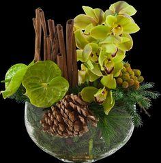 Cymbidium orchid, Anthurium, Evergreen, Pine cone, Cinnamon  - (re) Pinned by www.westpointorchids.com