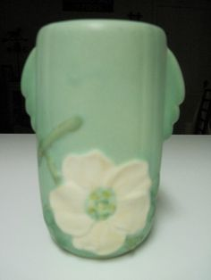 Vintage-Weller-Pottery-Vase-Blue-Green-Matte-Dogwood-Blossom-Signed