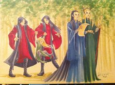 June 17th Daily Doodle Sketch-like thing… In my head canon: During a visit to Rivendell Elrond and Thranduil discuss the state of the realms while Elladan and Elrohir entertain Little!Legolas.