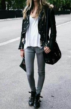 """98295444a66b glamblack  """" Plain t-shirt    Leather jacket    Skinny jeans    Ankle boots     """""""
