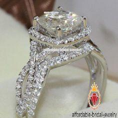 Beautiful Weeding Bridal Ring Set 14K White Gold 1 CT  D/VVS1 Round Cut Diamond  #affordablebridaljewelry
