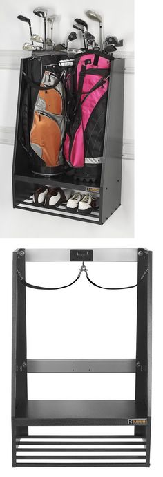 Other Golf Accessories 1514: New 2 Golf Bag Storage Rack Stand And Equipment Holder Organizer BUY IT NOW ONLY: $116.69 Shop for the best in Golf Push Carts and More at http://bestgolfpushcarts.net/product-category/golf-push-carts/clicgear/