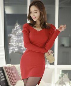Asymmetric V Neck Puff Sleeve Dress