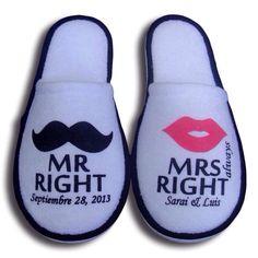 Pantuflas para boda MR &MRS