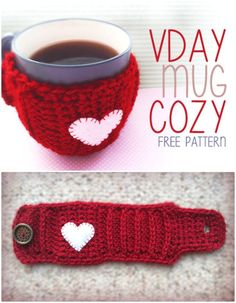 Free Crochet Valentine's Day Mug Coffee Cozy Pattern - 74 Free Crochet Cozy Patterns Just Waiting for You to Make - DIY & Crafts