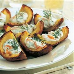 Baked potato skins with smoked salmon and fresh dill @ allrecipes.co.uk - swapping out for soft goats cheese..