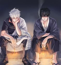 Sakata Gintoki x Hijikata Toushirou (GinHiji/HijiGin) Bts Anime, Manga Anime, Anime Art, Kawaii Anime, Gintama, Handsome Anime Guys, Otaku, Okikagu, Anime Kunst