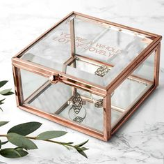 Letteroom Rose Gold Bevelled Glass Personalised Jewellery Box