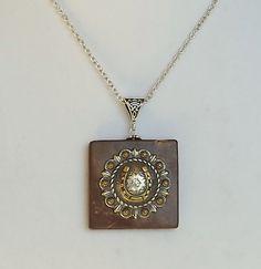 BROWN JASPER STONE Horseshoe Necklace, Horseshoe Concho Necklace, Brown Stone…