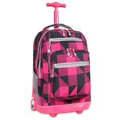 J World Sundance 19.5 in. Laptop Rolling Backpack Block Pink - RBS-19 BLOCK PINK