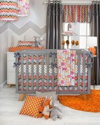 Calliope baby bedding in bright pink and orange with gray.  Whimsical chevron with cute birds baby bedding by Glenna Jean.