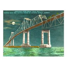 Moonlight over lower Tampa Bay showing main ship channel bridge of Sunshine Skyway, Florida. Tampa Bay Florida, Old Florida, Vintage Florida, Sunshine Skyway Bridge, Riverside California, Moving To Florida, Vintage Postcards, Moonlight, Vacation