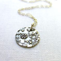 Silver Disc Necklace - PMC, Fine Silver, Sterling Silver, Floral Print, Medallion by BeadinByTheSea on Etsy