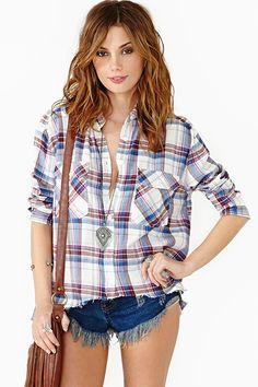 Split Plaid Shirt