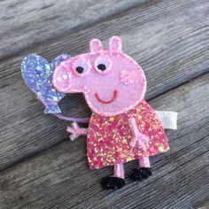 Peppa Pig Inspired Glitter Hair Clip/Headband by ShopLulubea