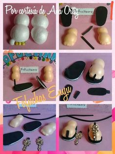 Pap de zapatos Foam Sheet Crafts, Foam Crafts, Handmade Crafts, Diy And Crafts, Doll Shoe Patterns, Fondant Figures Tutorial, Clay Design, Clay Dolls, Doll Shoes