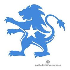 Vector image of heraldic lion colored in the colors of Somalia.