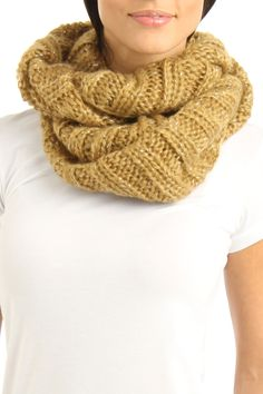 Knitted Circle Scarf In Camel.
